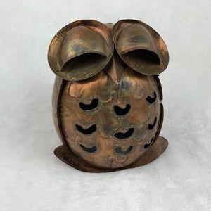 "Vintage Copper Tone Metal Owl Statue Figure 5.5"""